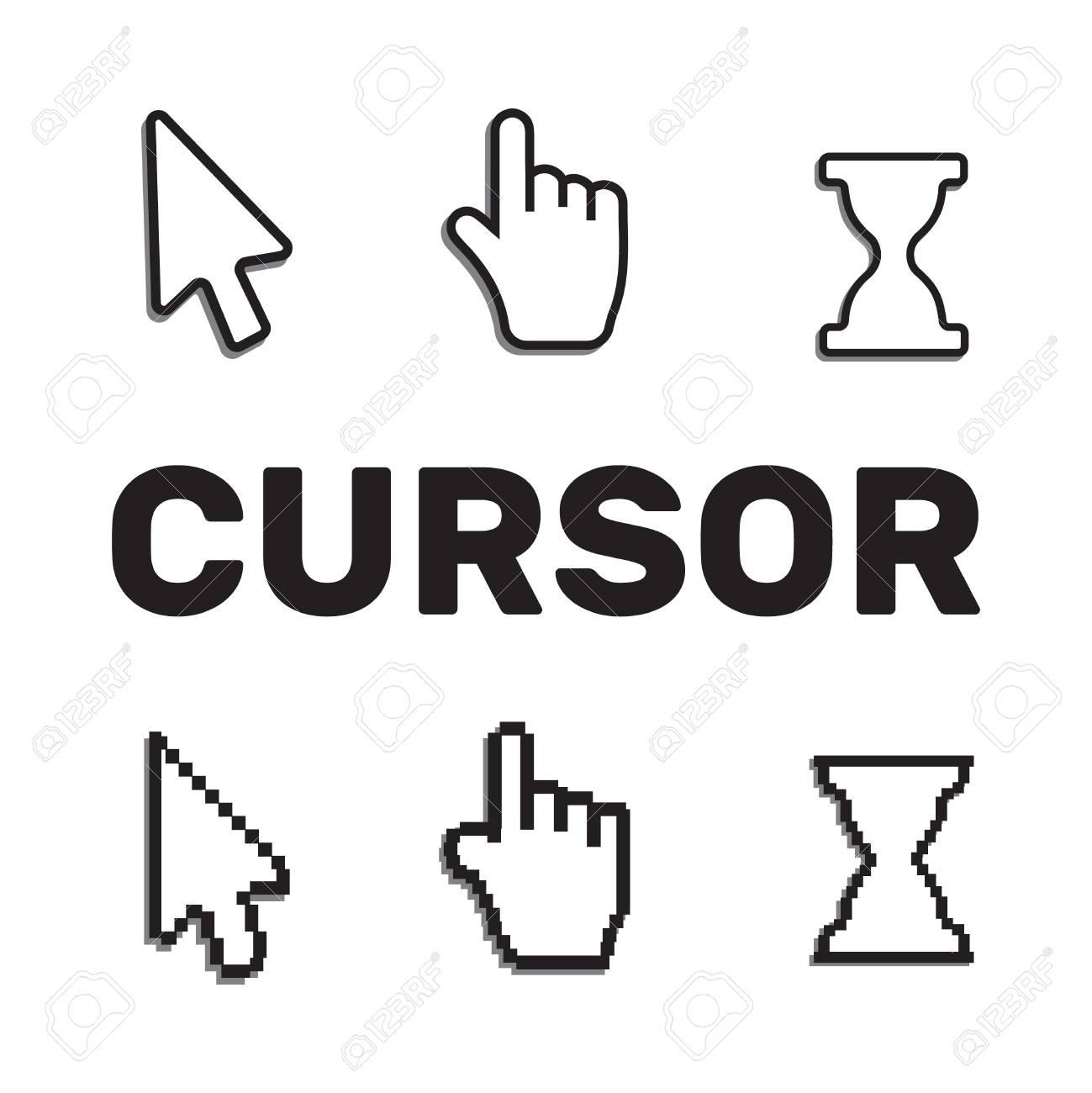 Pixel Cursors Icons Mouse Hand Arrow. Mouse Computer Cursor destiné La Souris Du Web
