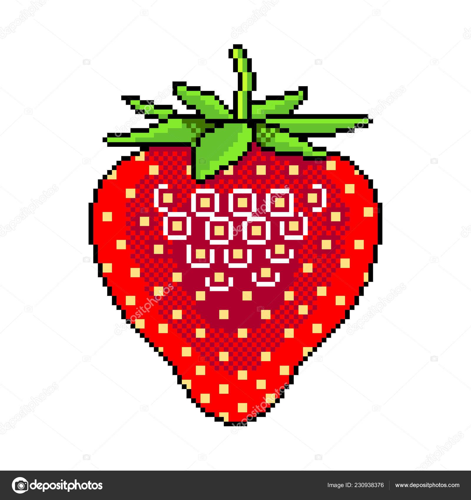 Pixel Strawberry | Pixel Art Strawberry Fruit Detailed à Pixel Art Fraise