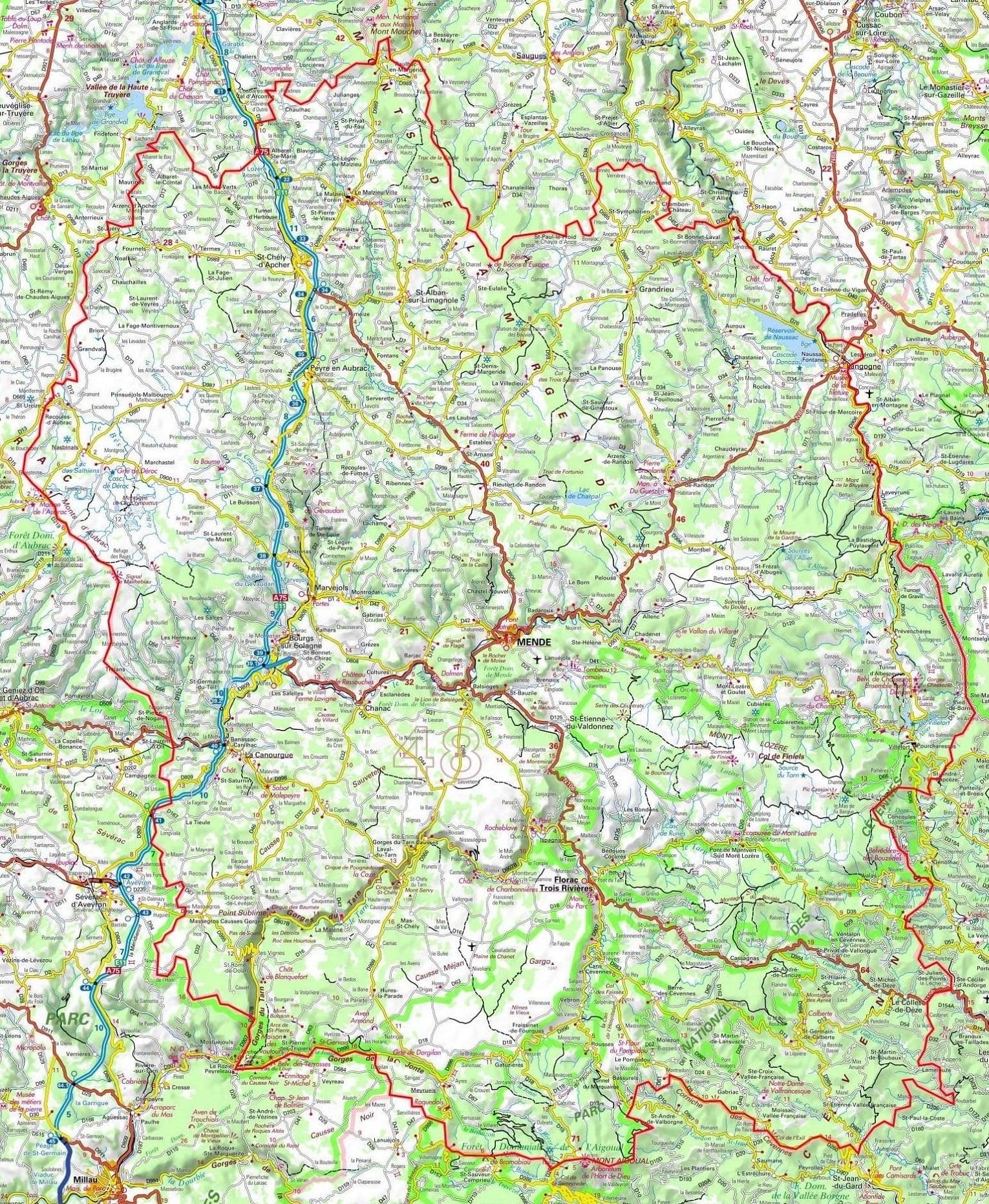 Plan De La Lozère (Occitanie) à Carte Du Sud De La France Détaillée