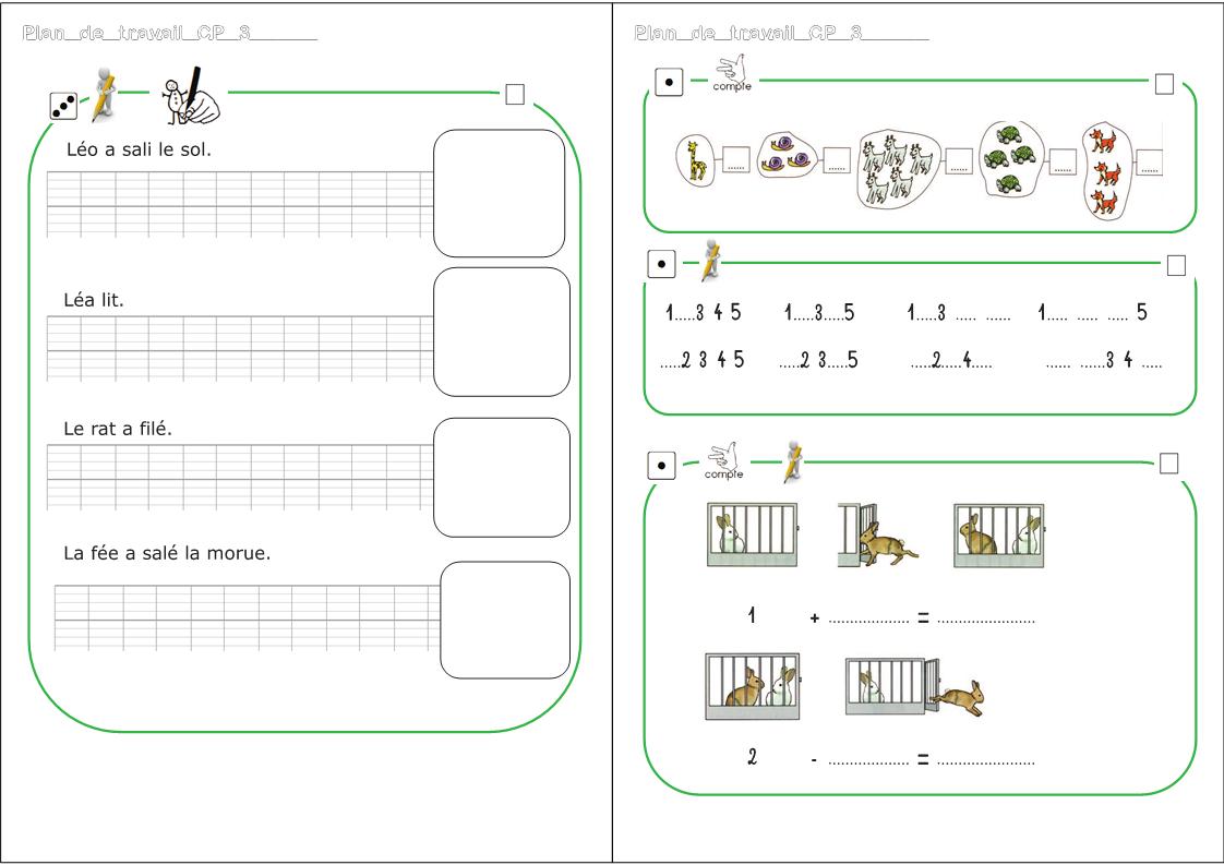 Plan De Travail Cp - Zaubette pour Travaille De Cp A Imprimer