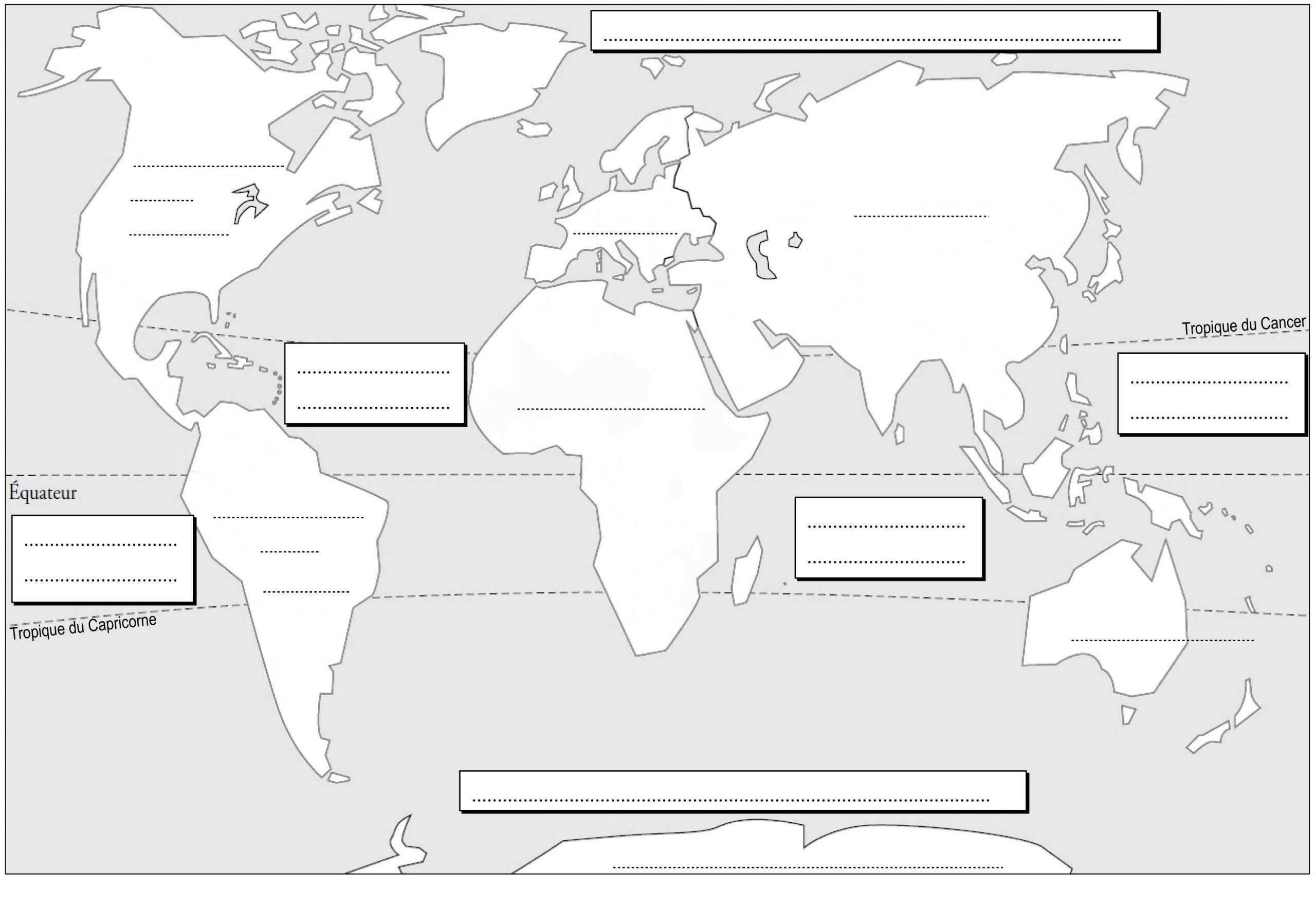 Planisphère À Compléter | Planisphère À Imprimer, Géographie pour Carte Du Monde À Compléter En Ligne