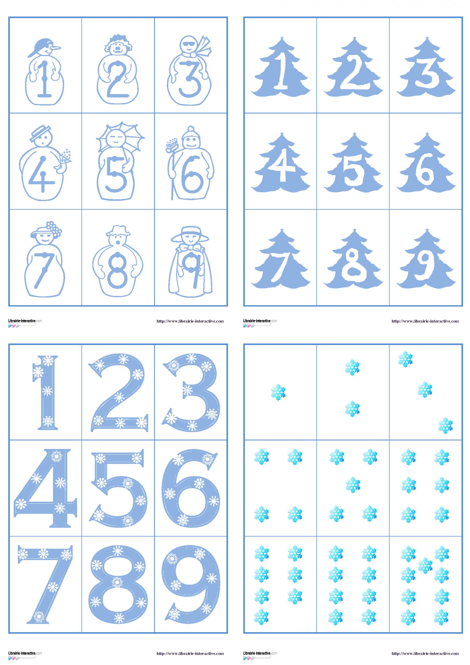 Plusieurs Jeux De Cartes Sur Le Thème De L'hiver Pour Jouer concernant Jeux Avec Des Chiffres