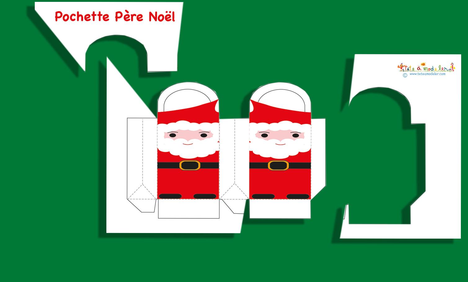 Pochette Cadeau Père De Noël -Père Noël Sur Tête À Modeler tout Pere Noel A Decouper