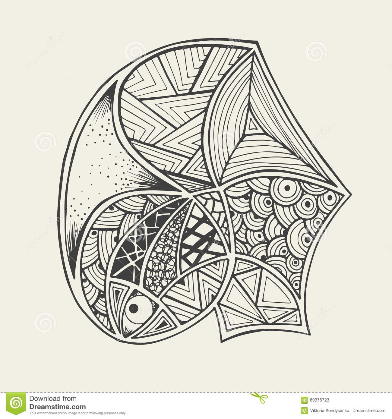 Poissons Tirés Par La Main De Zentangle Avec Livre De dedans Coloriage Graphique