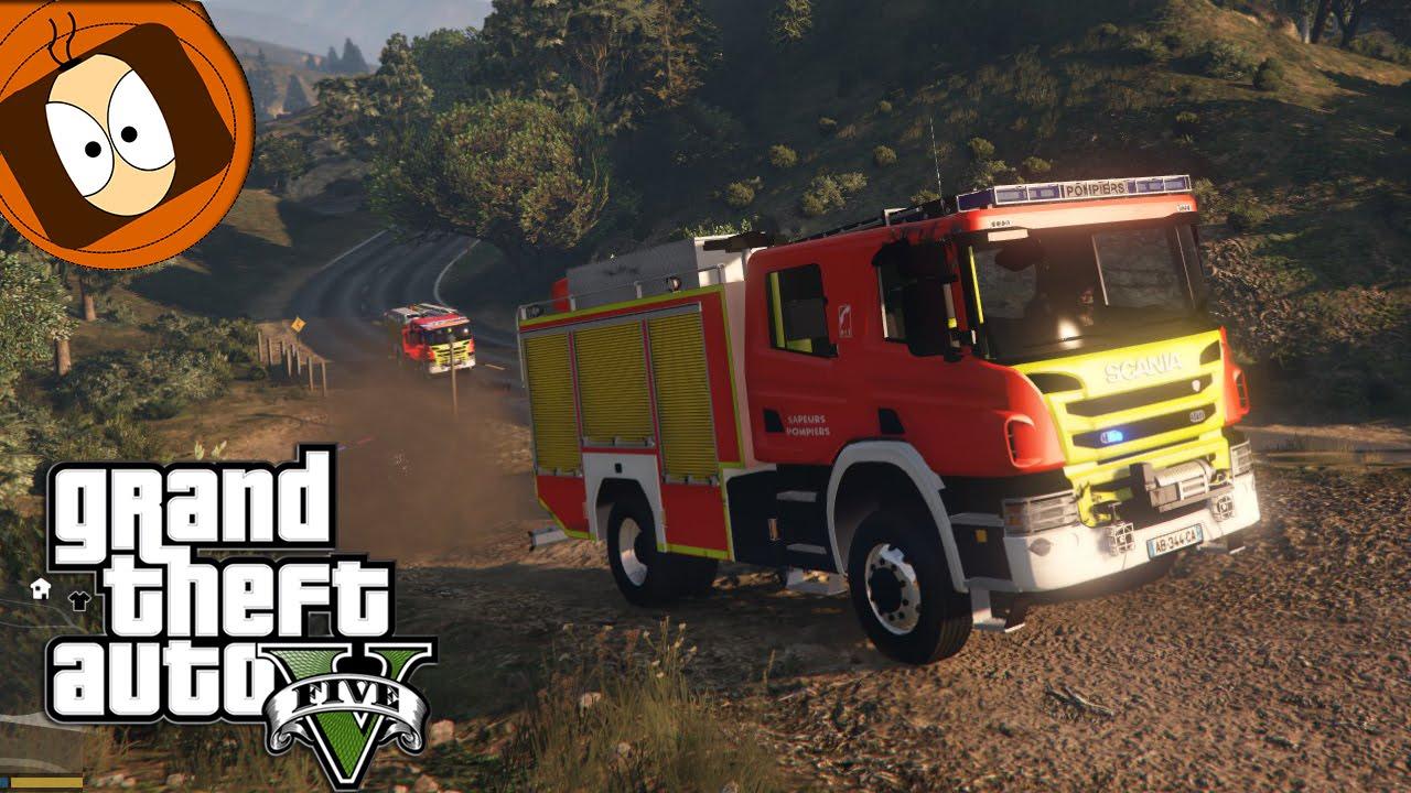Pompier : Fourgon Pompe Tonne Vs Feu ! | Gta 5 - Rescue Mod V tout Jeu De Pompier Gratuit
