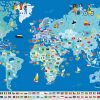 Poster Géant + 200 Stickers , Drapeaux Du Monde avec Carte Du Monde Et Leur Capitale