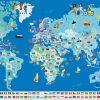 Poster Géant + 200 Stickers , Drapeaux Du Monde avec Planisphère Enfant