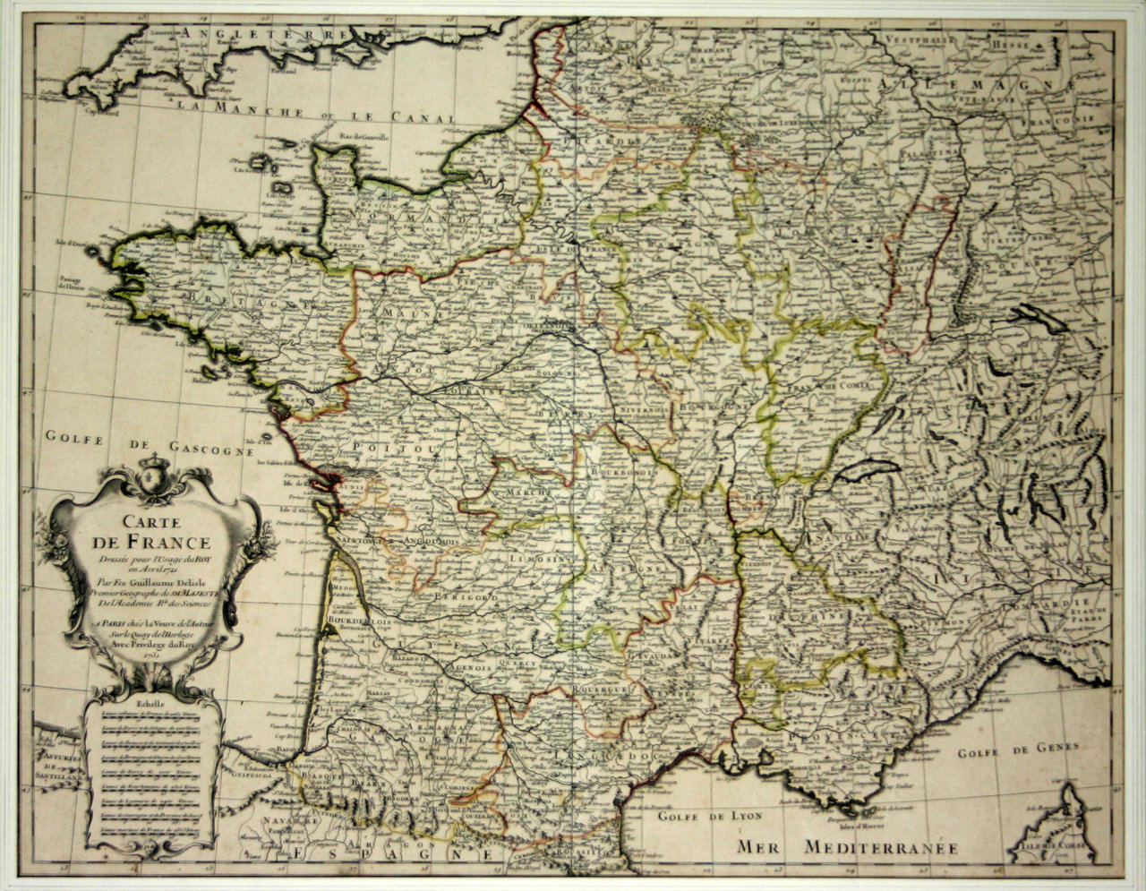 Poster Map Of France Set For The King 1721 Guillaume Delisle destiné Acheter Carte De France