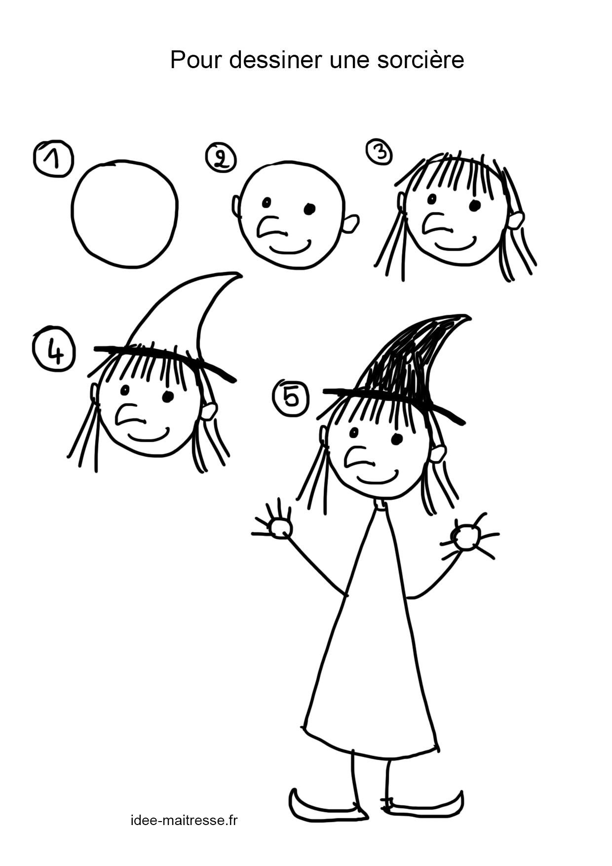 Pour Dessiner Une Sorcière - encequiconcerne Apprendre À Dessiner En Maternelle