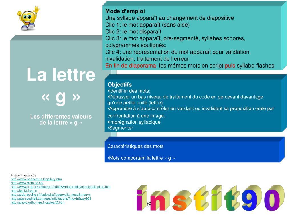 Ppt - La Lettre « G » Les Différentes Valeurs De La Lettre tout Aide Pour 4 Images Un Mot