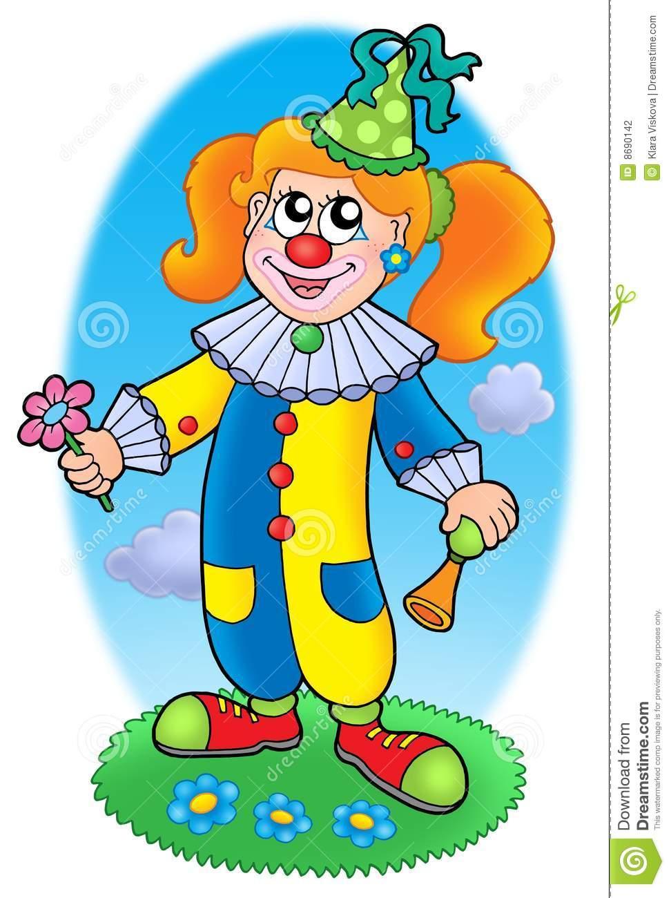 Pré De Fille De Clown De Dessin Animé Illustration Stock intérieur Dessin De Clown En Couleur