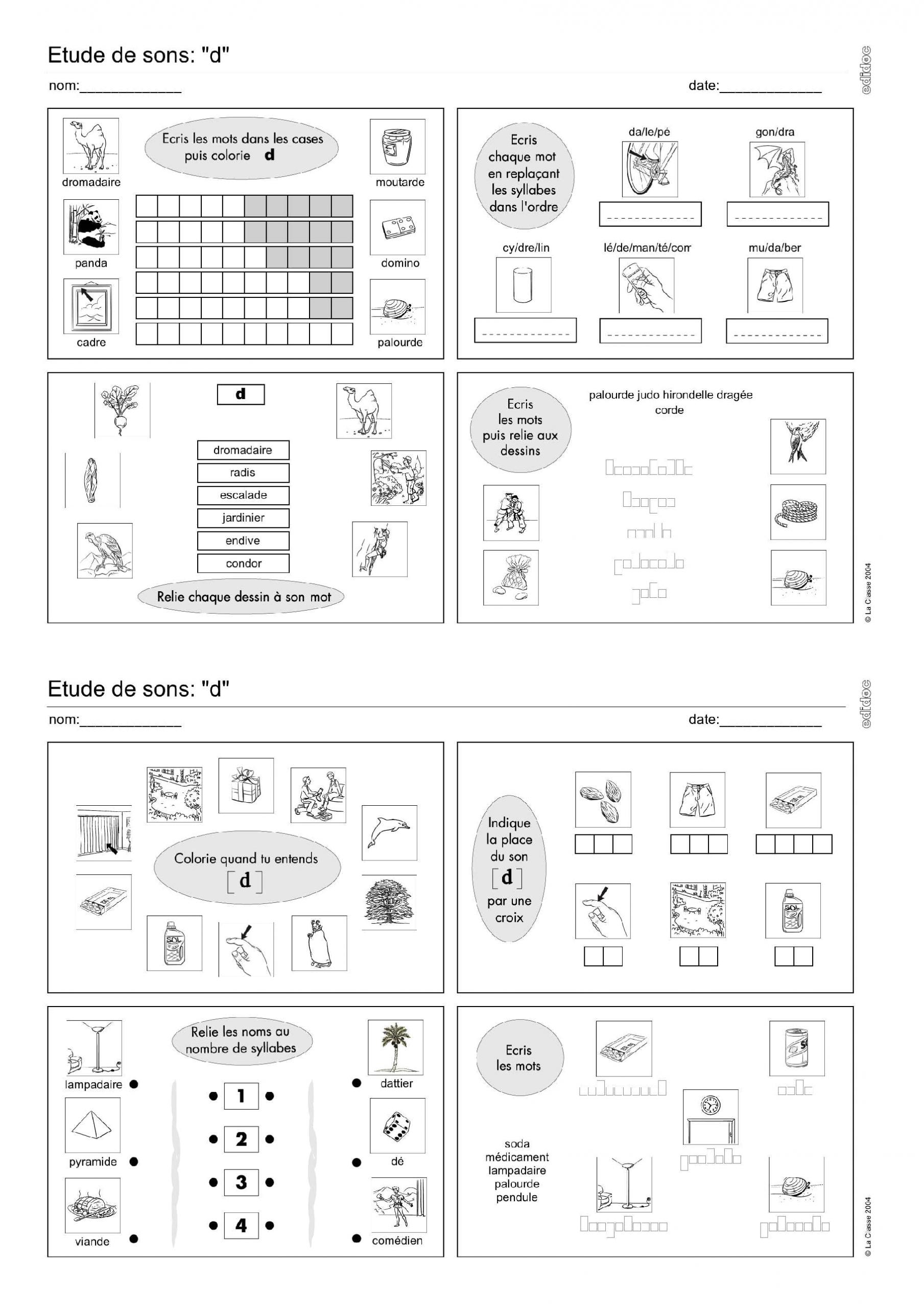 Près De 80 Fiches D'exercices De Phonologie Réparties Entre pour Fiche D Exercice Cp