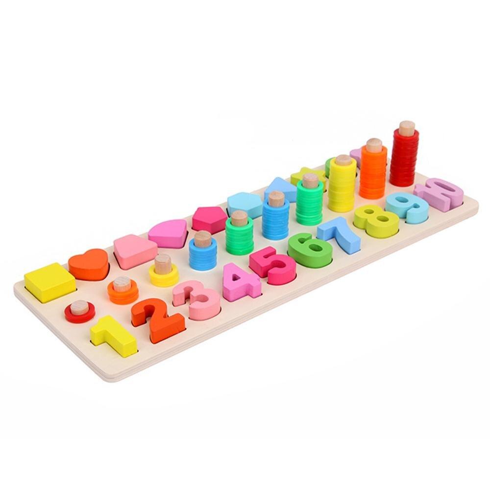 Préscolaire En Bois Montessori Jouets Compter Forme Géométrique Cognition  Match Bébé Éducation Précoce Aides Pédagogiques Jouets Mathématiques Pour pour Boite À Forme Montessori