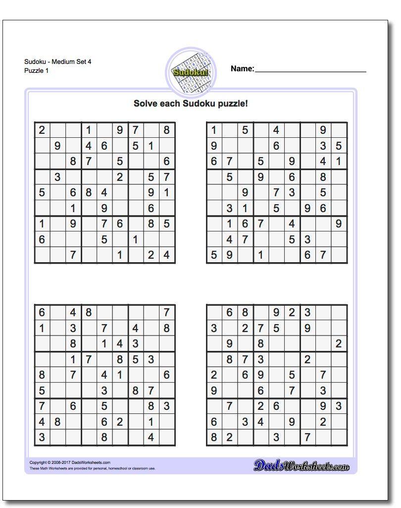 Printable Medium Sudoku Puzzles | Matematik pour Puzzle Facile Gratuit