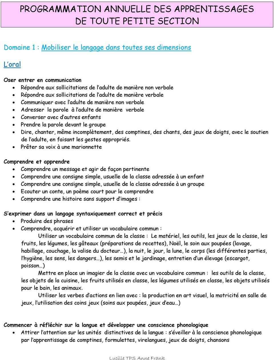 Programmation Annuelle Des Apprentissages De Toute Petite pour Exercice Toute Petite Section