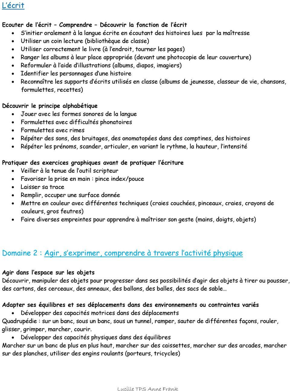 Programmation Annuelle Des Apprentissages De Toute Petite serapportantà Exercice Toute Petite Section