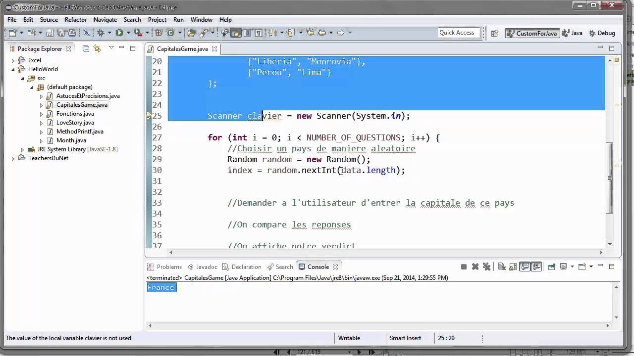 Programmer En Java (Débutant) - 78 - Jeu De Capitales intérieur Jeu Des Capitales