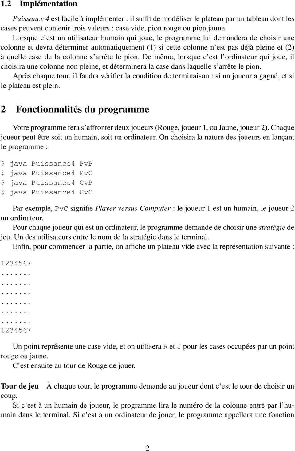 Projet De Programmation Java Puissance 4 - Pdf destiné Jouer A Puissance 4
