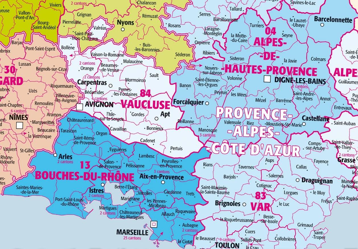 Provence : Bouches-Du-Rhône Et Alpes-De-Haute-Provence intérieur Carte Departement 13