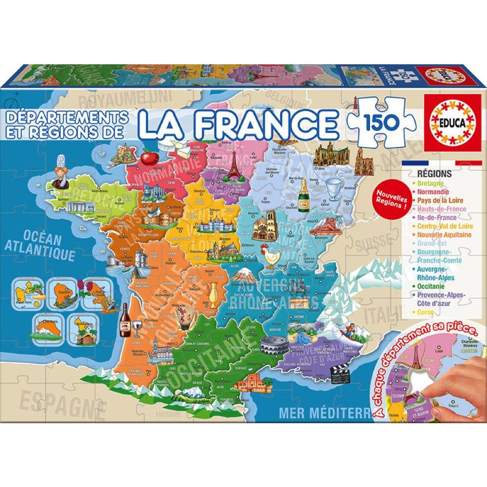 Puzzle 150 Pièces : Départements Et Régions De La France intérieur Jeu Sur Les Régions De France