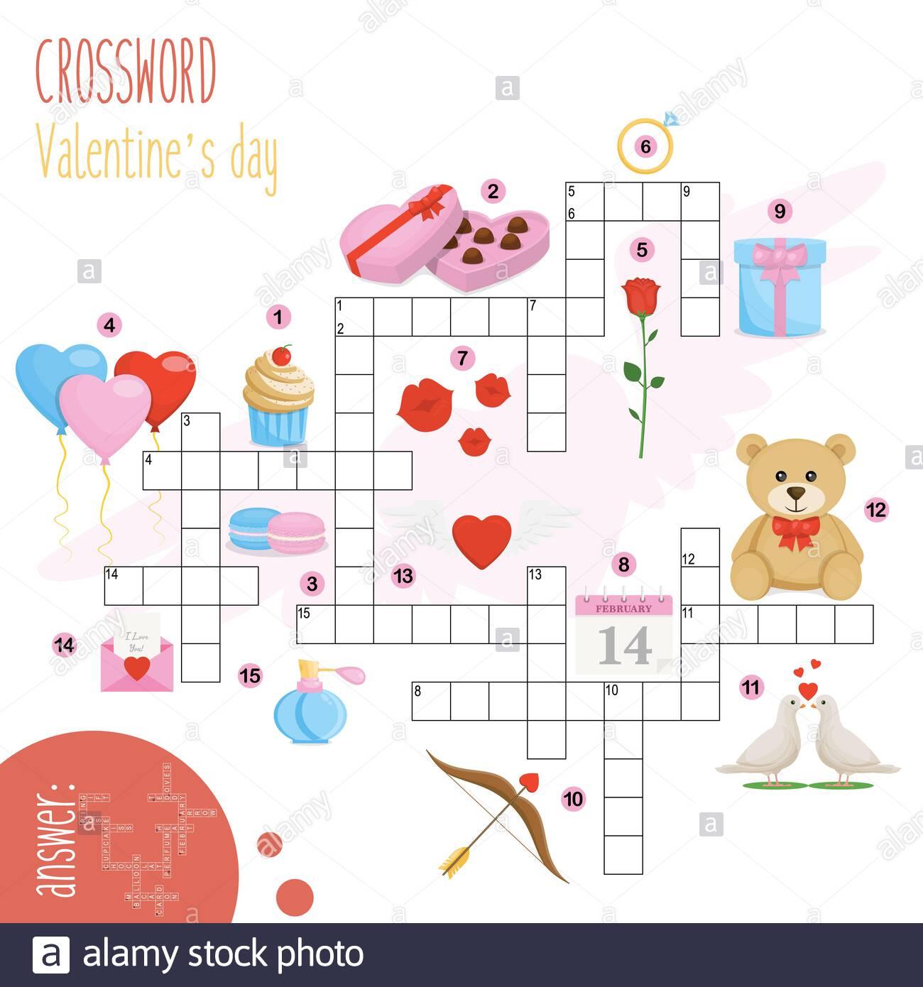 Puzzle À Mots Croisés Facile « Saint-Valentin », Pour Les avec Amusant Mots Fléchés