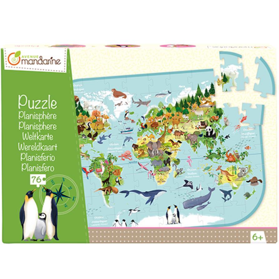 Puzzle Carte Du Monde Planisphère 76 Pièces 56X40 Cm Avenue Mandarine avec Planisphère Enfant