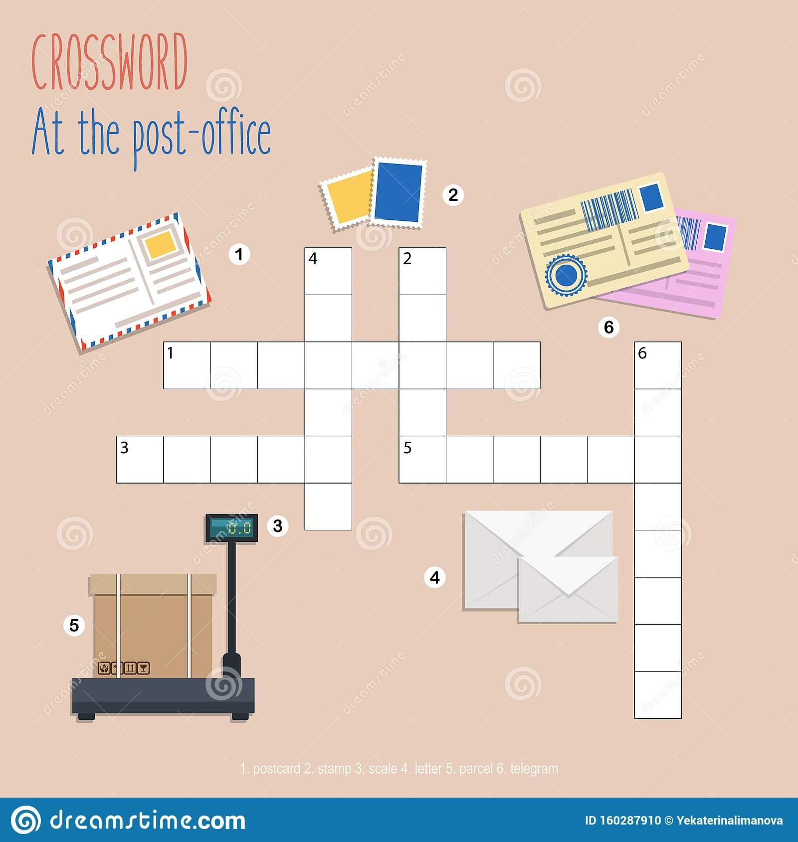 """Puzzle De Mots Croisés Faciles """"au Bureau De Poste dedans Amusant Mots Fléchés"""