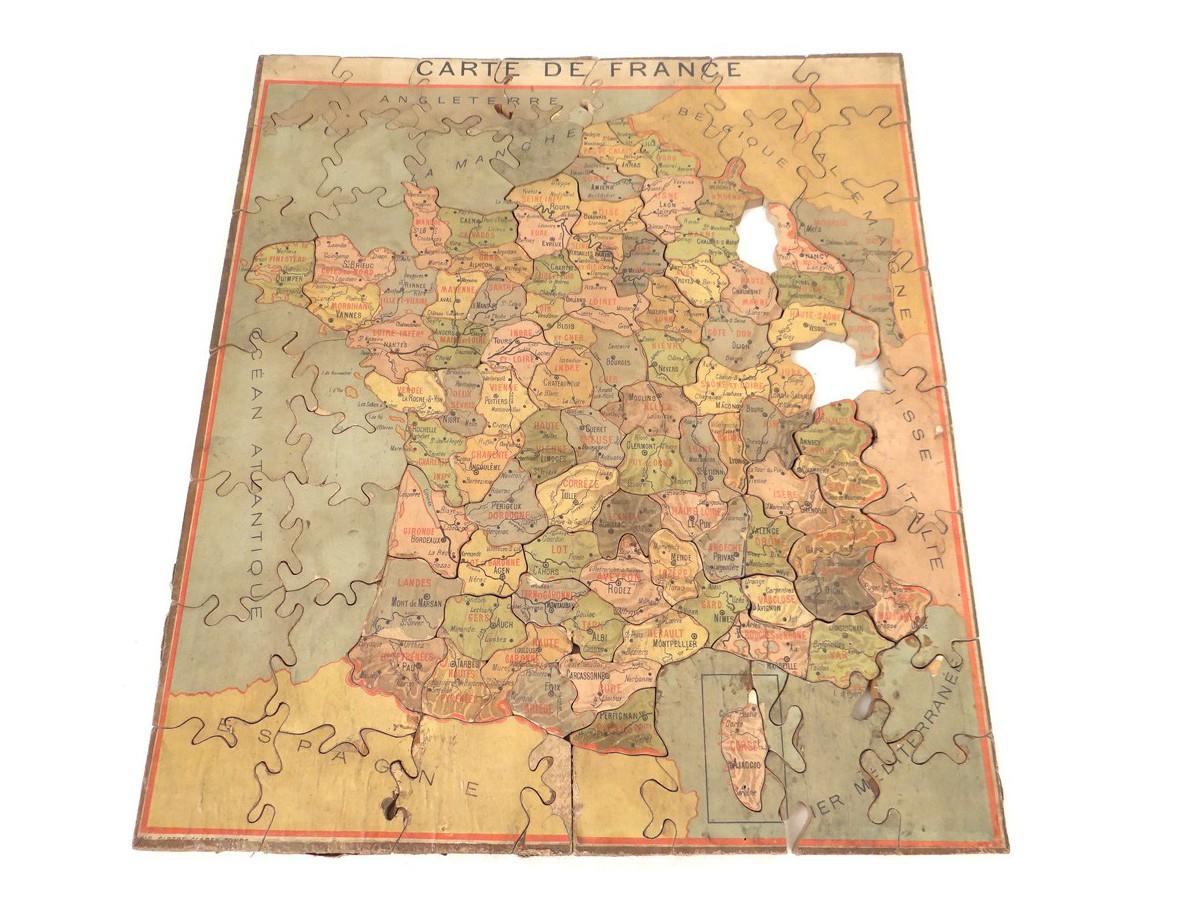 Puzzle Département France Antique French Xxème Siècle concernant Puzzle Departement