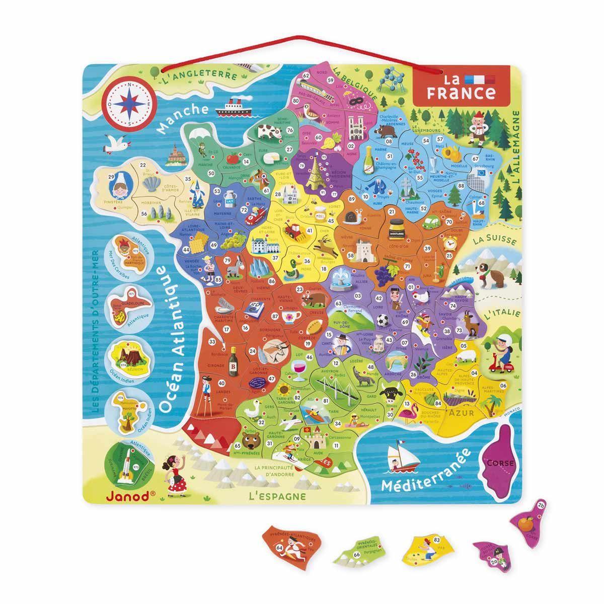 Puzzle France Magnétique Janod | Carte De France, Nouvelles avec Departement Et Chef Lieu