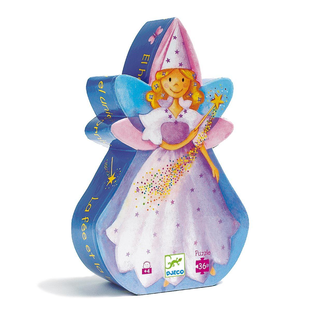 Puzzle La Fée Et La Licorne 36 Pièces Djeco | Silhouette De tout Jeux De Fille Puzzle