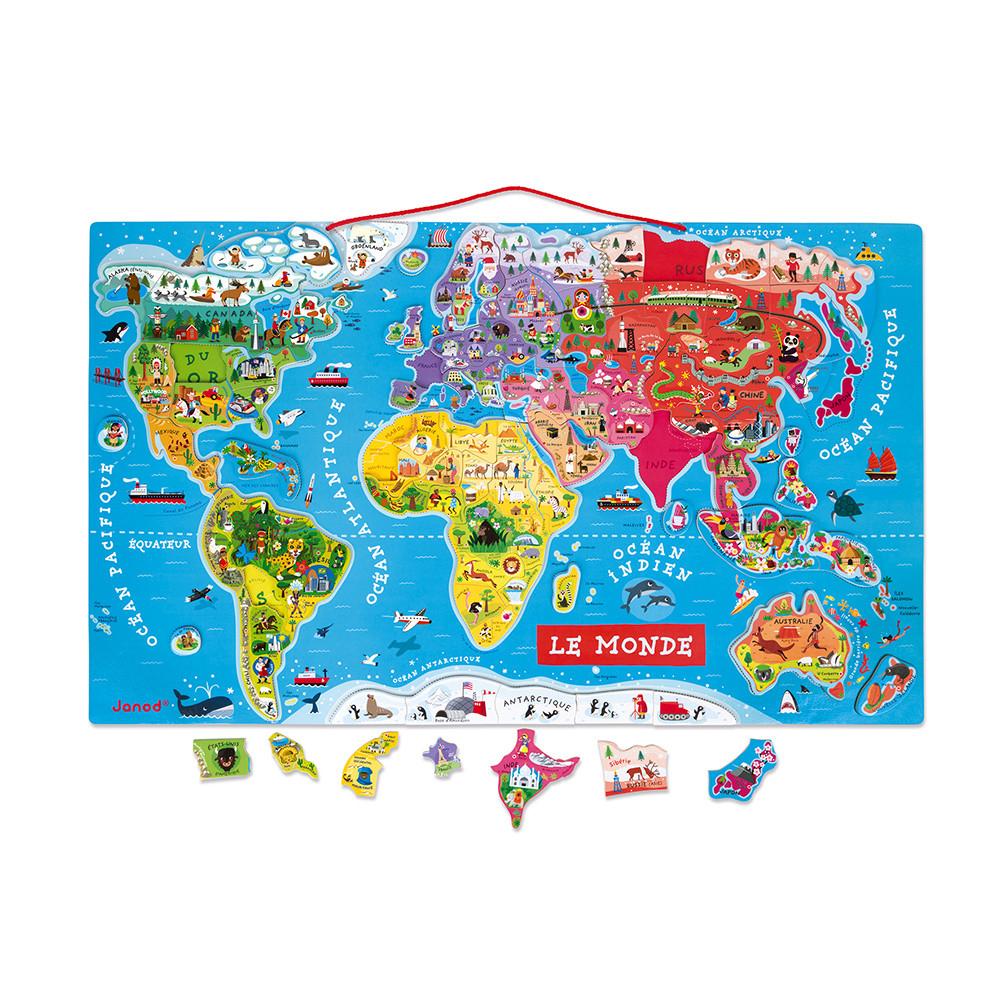 Puzzle Monde Magnétique 92 Pcs (Bois) à Carte Du Monde Et Leur Capitale