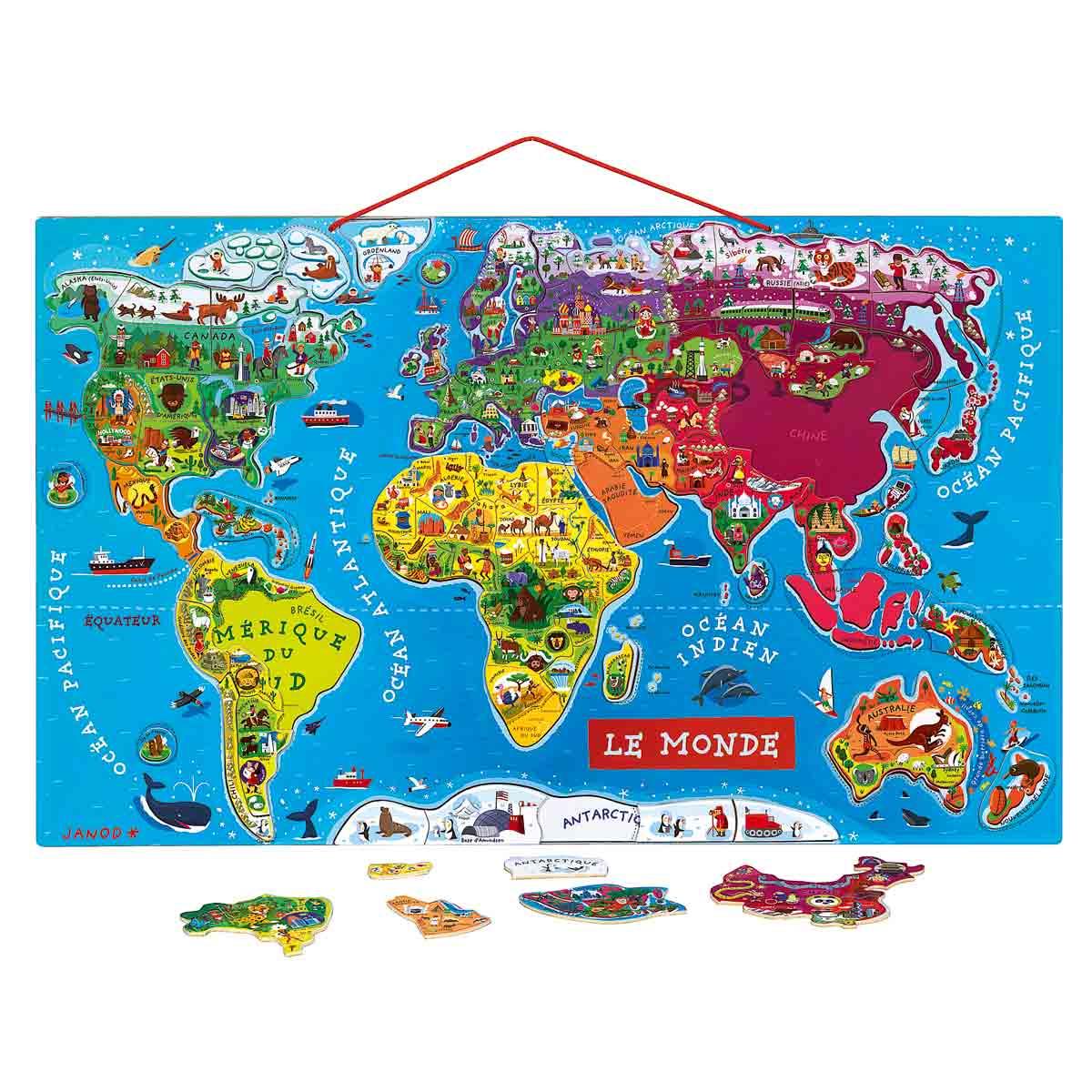 Puzzle Monde Magnétique - Planisphère De 92 Pièces - Janod encequiconcerne Planisphère Enfant