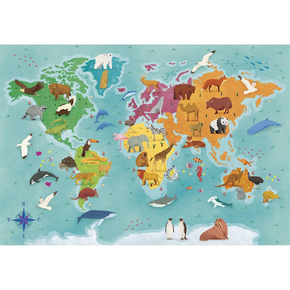 Puzzle - Supercolor 180 Pièces - Planisphère Animalier destiné Planisphère Enfant