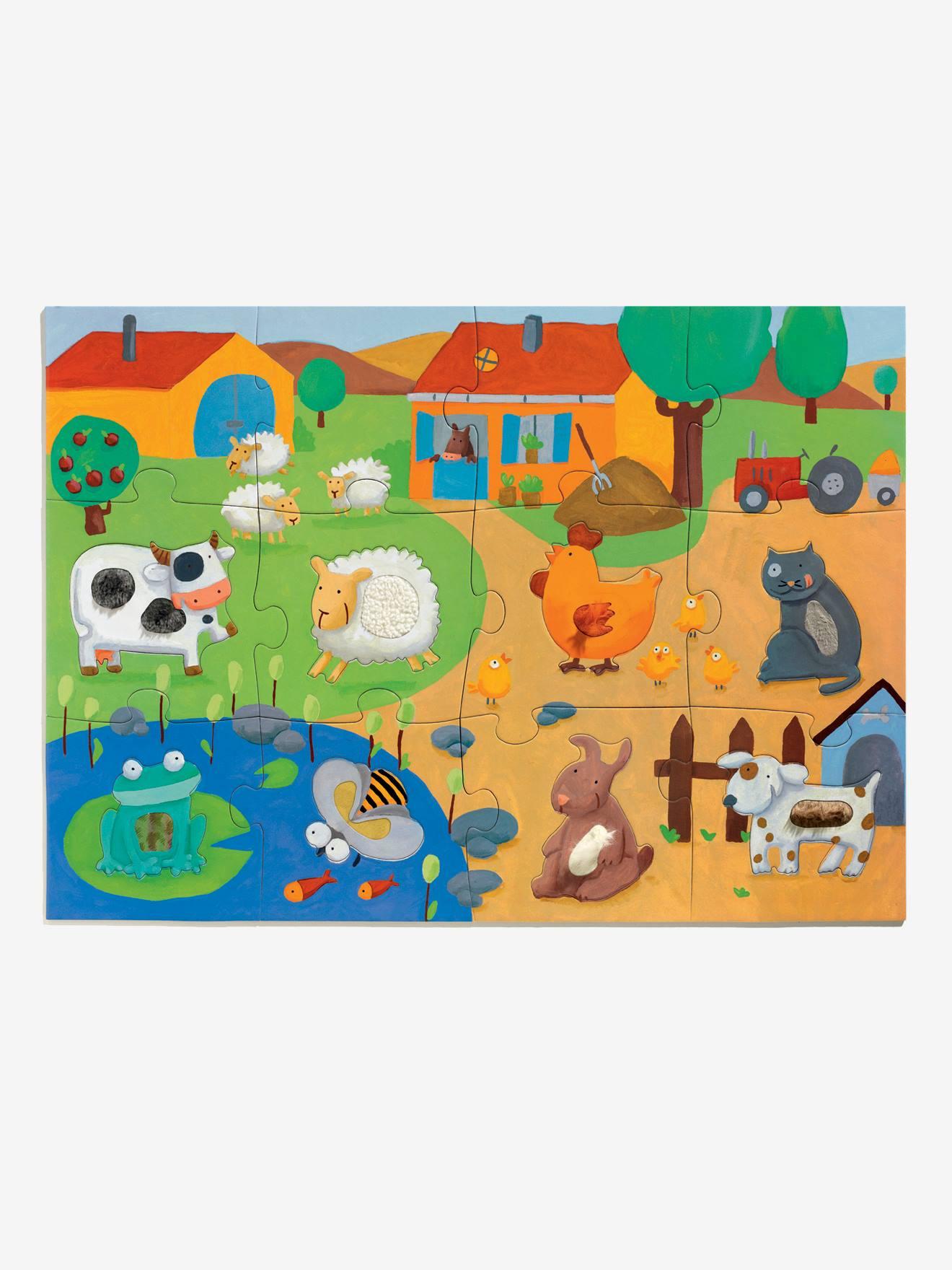 Puzzle Tactiloferme 20 Pièces Djeco Multicolore - Djeco pour Puzzle Fille 3 Ans