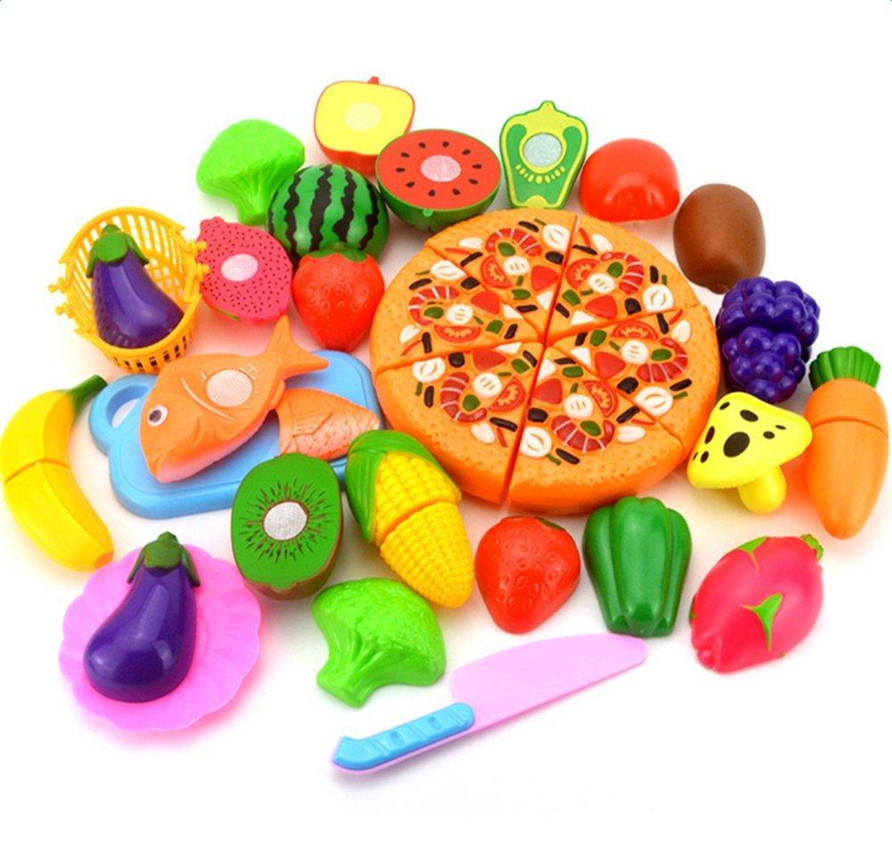 Qinlee 24Pcs Eu D'imitation Coupe Fruits Légumes Jeu Enfants pour Jeux De Fruit Et Legume Coupé