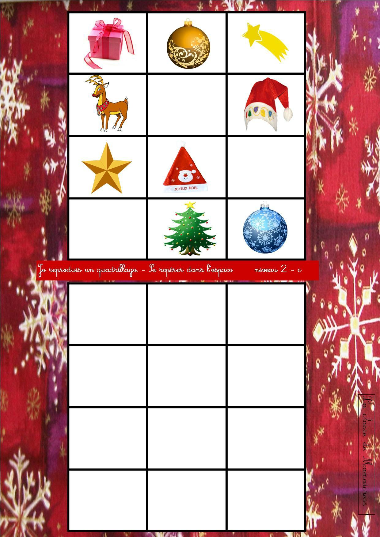 Quadrillages De Noël - La Classe De Mamaicress destiné Repérage Sur Quadrillage Gs