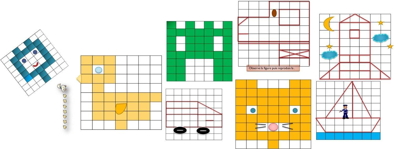 Quadrillages - Deplacements /reproduction • Recreatisse avec Exercice Reproduction Sur Quadrillage Ce1