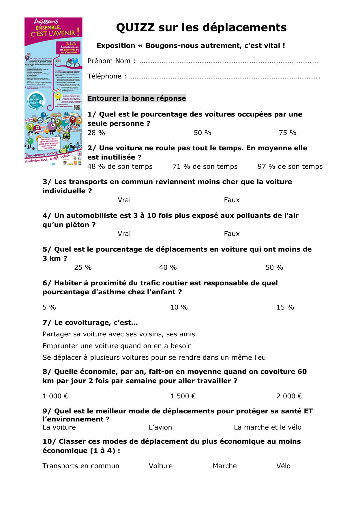 Quizz Sur Les Déplacements intérieur Quizz Enfant