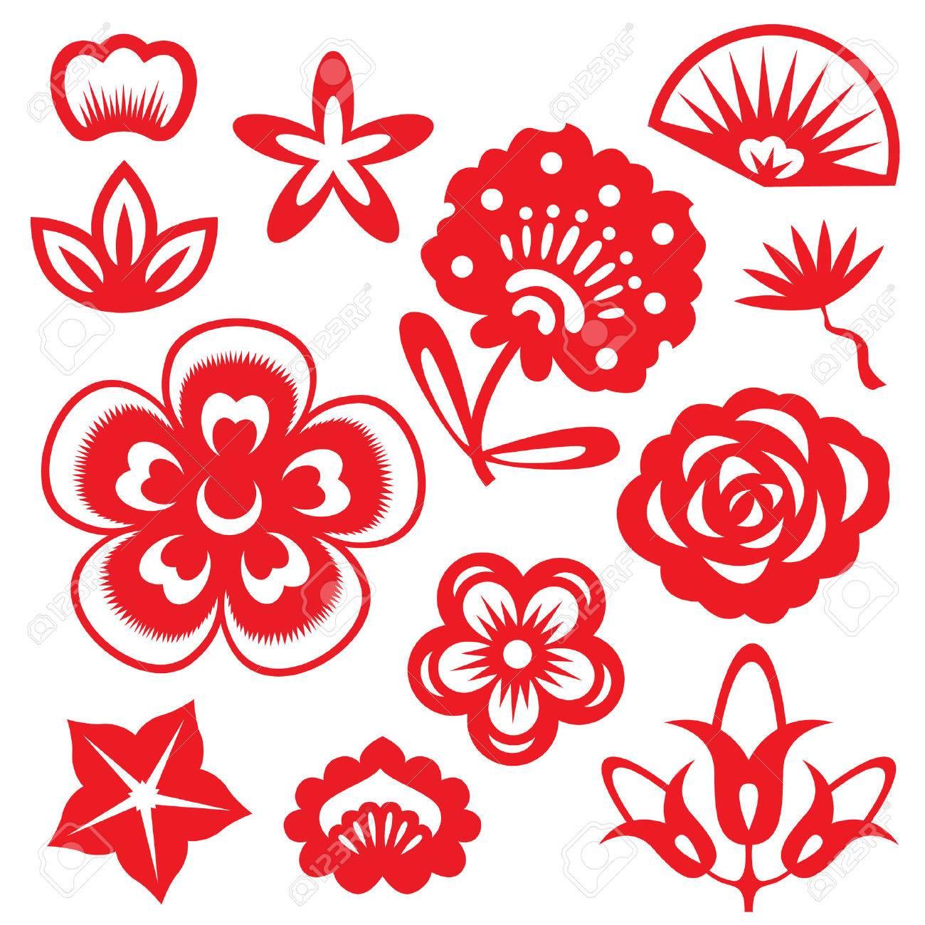 Red Fleurs En Papier Découpé Vecteur Chine Scénographie à Fleurs À Découper