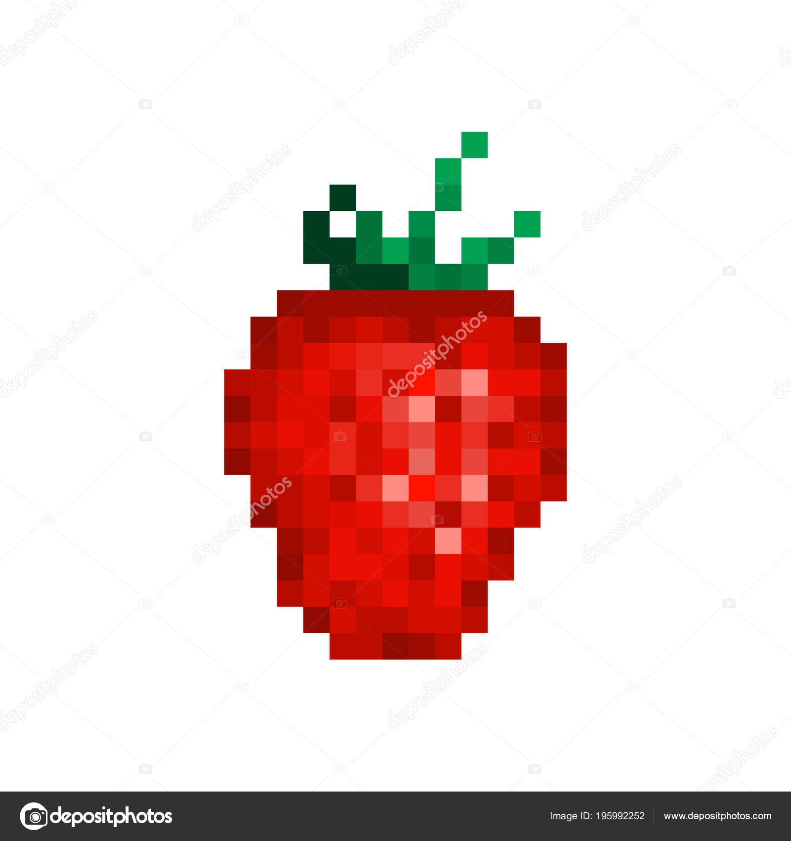 Red Strawberry Pixel Art Icon Isolated White Background Jam dedans Pixel Art Fraise
