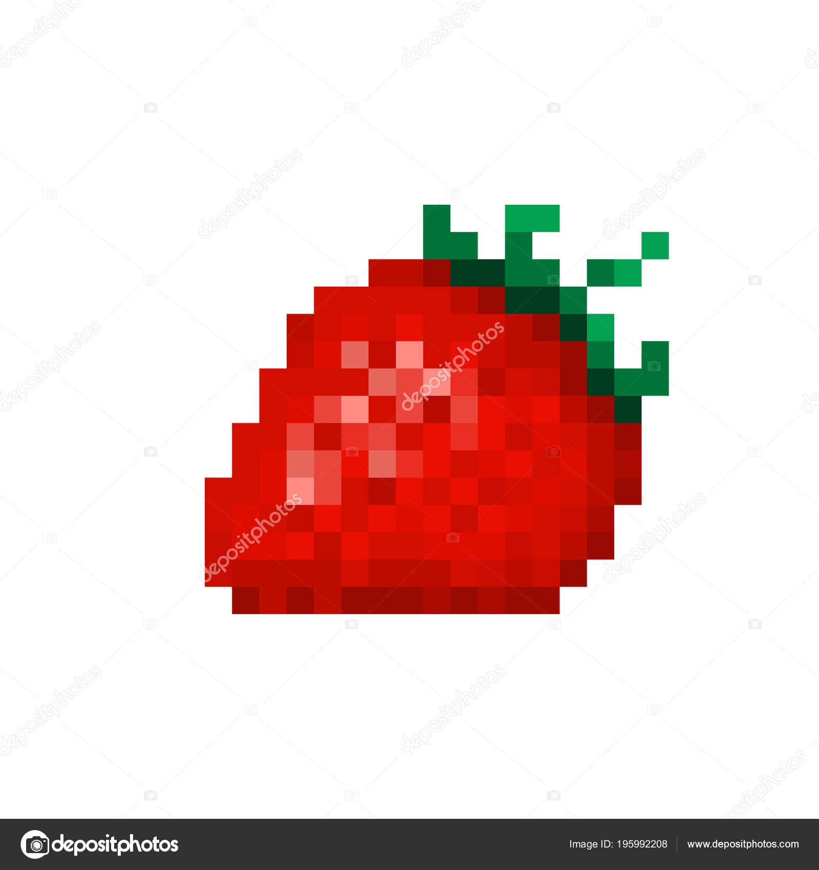 Red Strawberry Pixel Art Icon Isolated White Background Jam tout Pixel Art Fraise