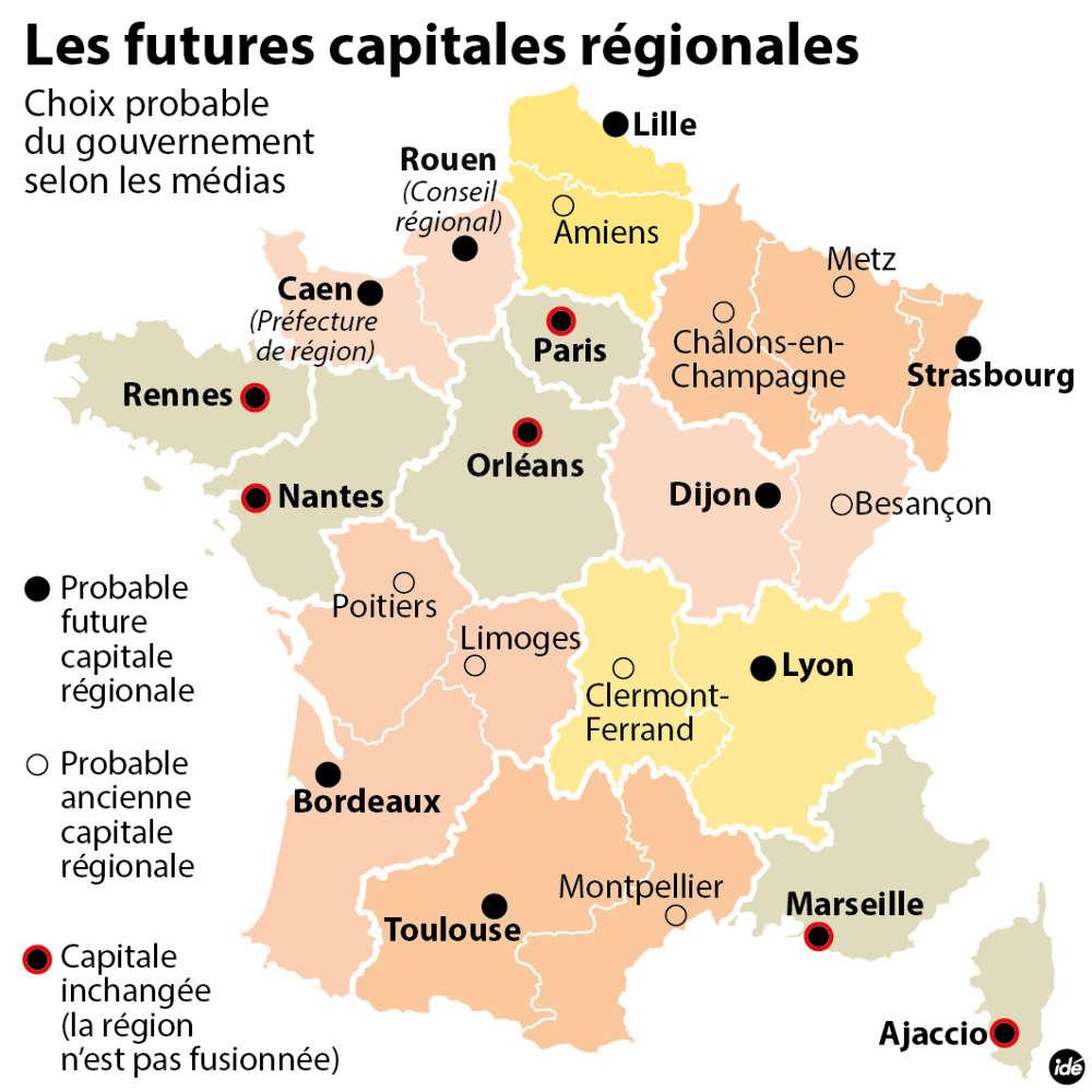 Redécoupage Des Régions : Le Casse-Tête Des Capitales destiné Le Nouveau Découpage Des Régions