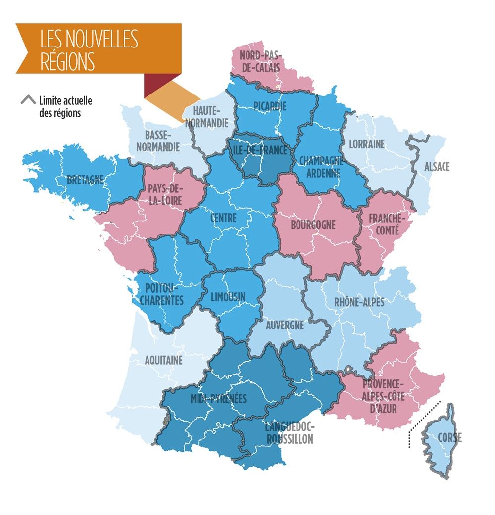 Réforme Territoriale : De 22 À 14 Régions, Puis 13 concernant Carte Des 22 Régions