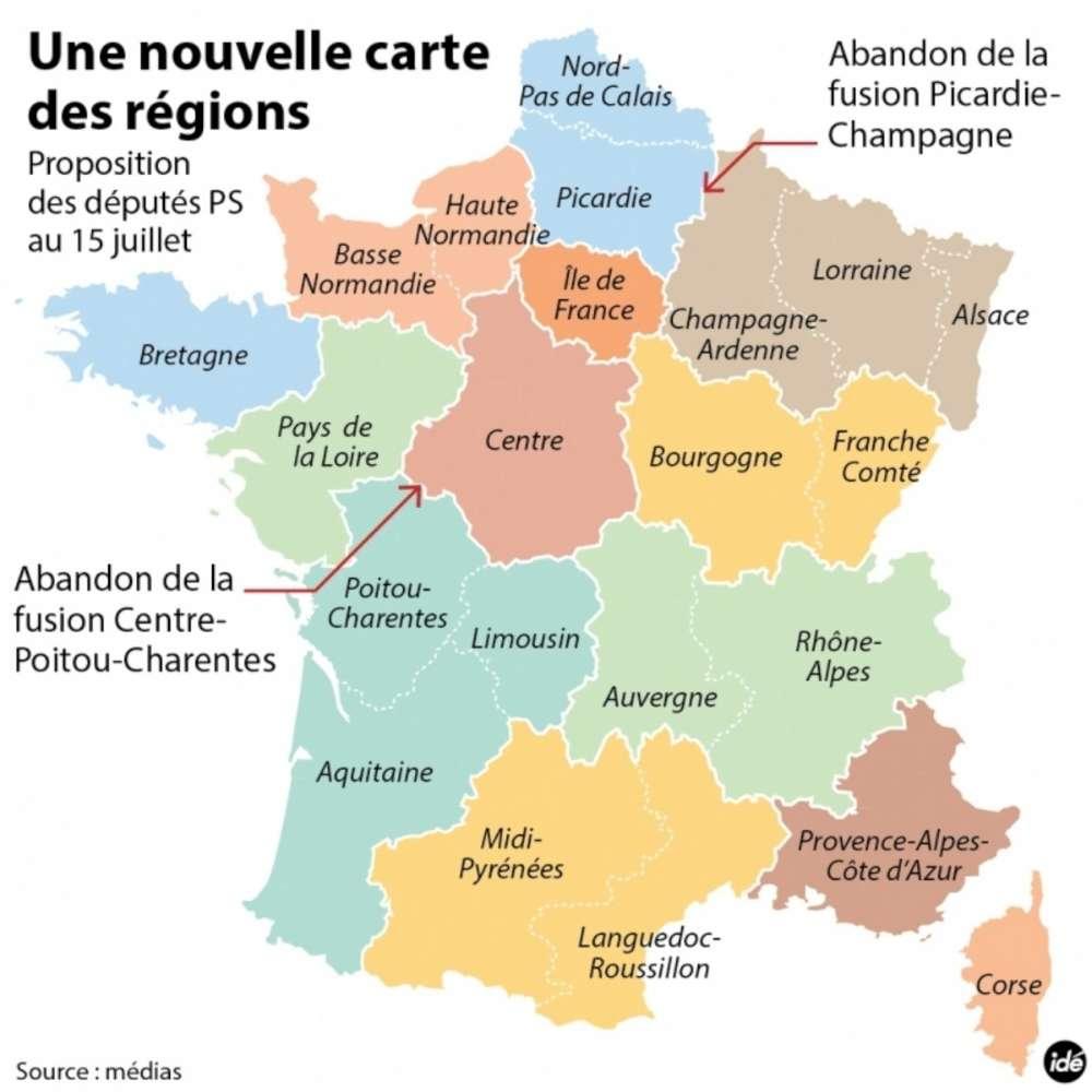 Réforme Territoriale : Valls Défend La Carte De France À 13 pour Carte Des 22 Régions