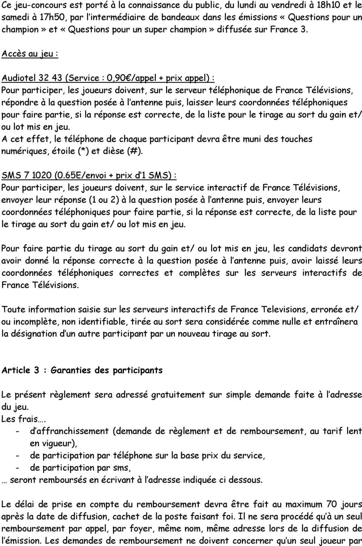 Reglement Du Jeu Concours Questions Pour Un Champion - Pdf serapportantà Question Reponse Jeu Gratuit