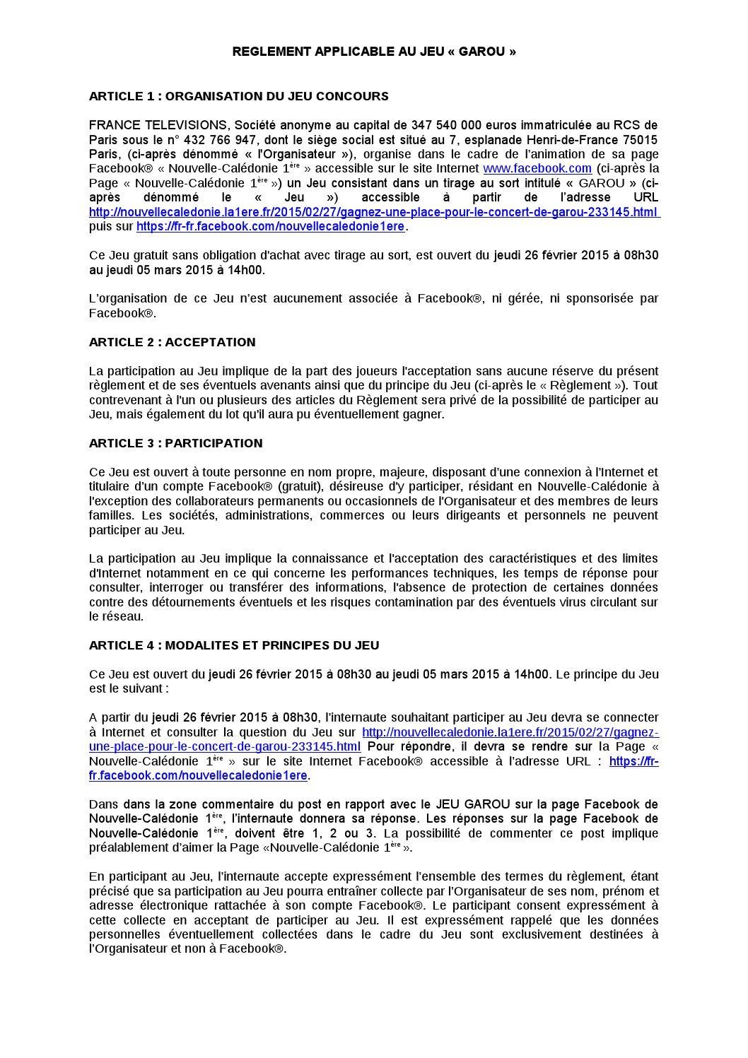 Règlement Jeu Concours Nc 1Ère Garou (27/02/15) By Nc La pour Question Reponse Jeu Gratuit