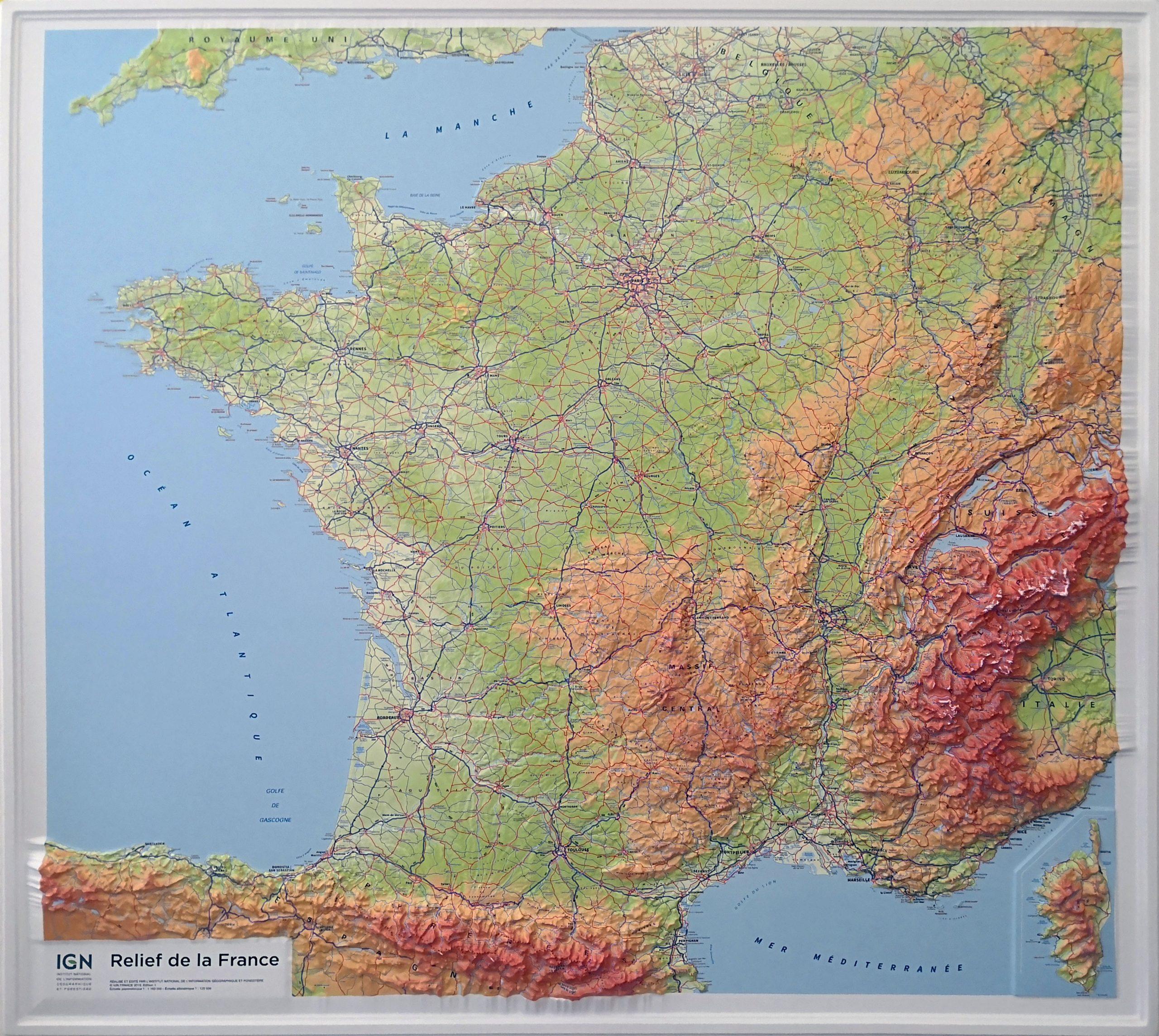 Relief-De-La-France à Carte Du Sud De La France Détaillée