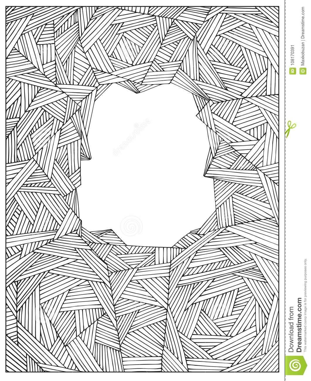 Remettez Le Cadre De Page Adulte Non Coloré Géométrique dedans Coloriage En Ligne Difficile