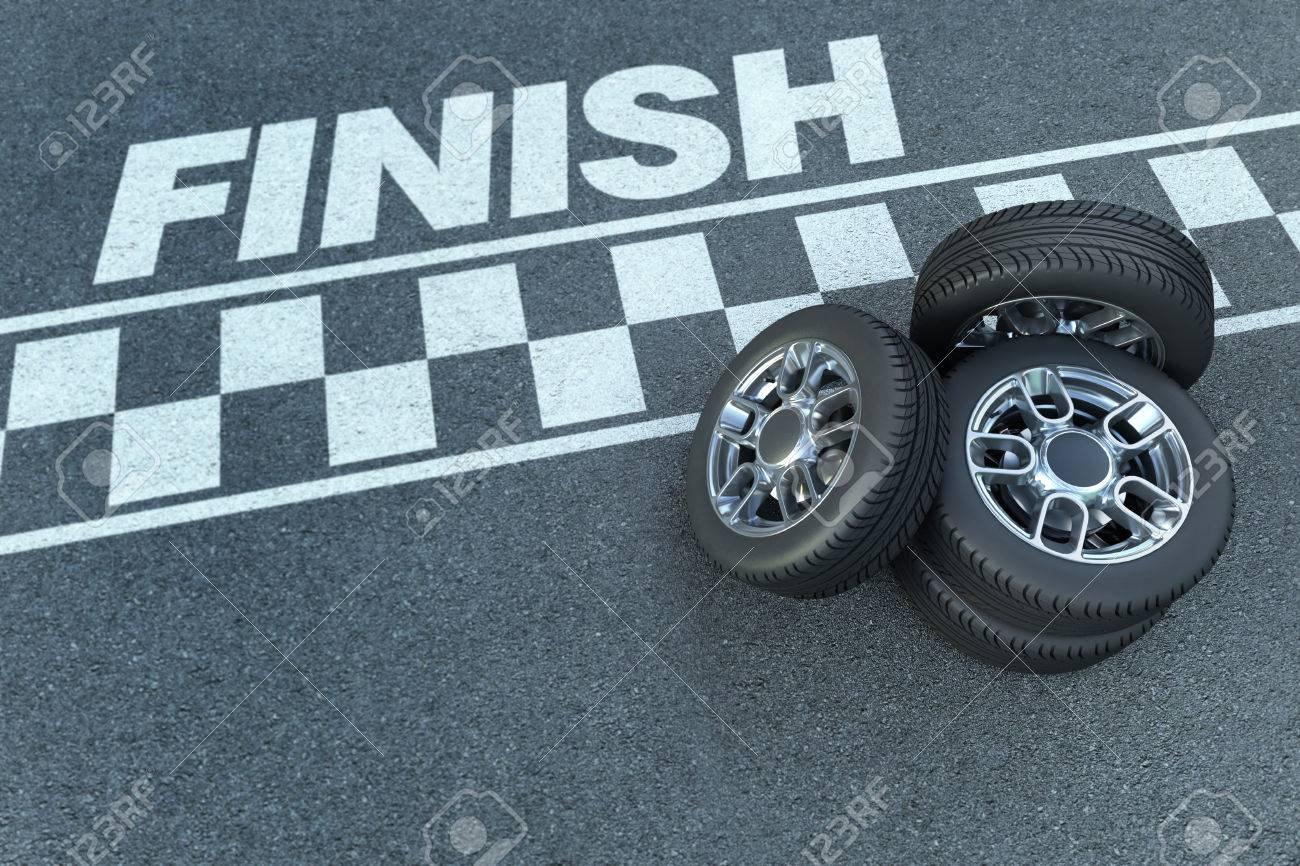 Rendu 3D De Roues Par Une Ligne D'arrivée Du Circuit De Course Automobile concernant Course Voiture En Ligne