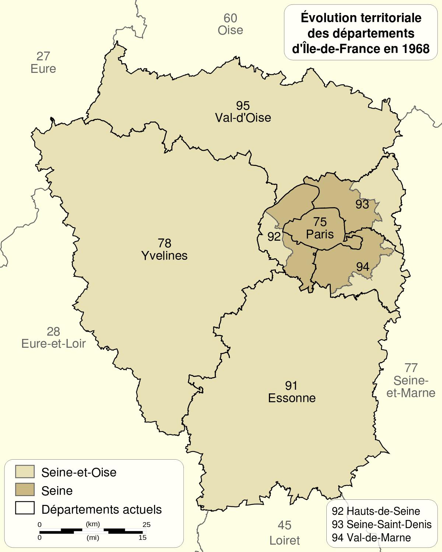 Réorganisation De La Région Parisienne En 1964 — Wikipédia avec Ile De France Département Numéro